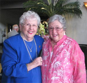 Maureen K. Hall on her 80th birthday with sister Earleen Henderson