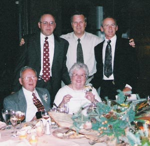 Wes and Maureen Hall Celebrate 50th Anniversary (seated) with sons Dr. Gary Hall (left), Scott Hall (center) and Dr. Andrew Hall (right) at the Ahwahnee Hotel